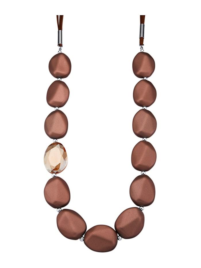 KLiNGEL Halskette mit Velour, Braun