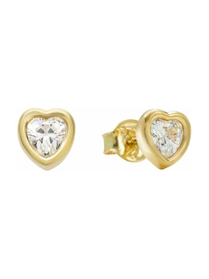 amor Ohrstecker für Damen, Gold 375, Zirkonia Herz, Gold