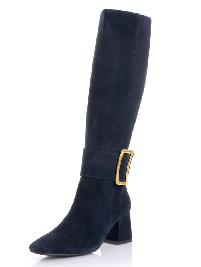 Alba Moda Stiefel mit dekorativer Schnalle, Marineblau