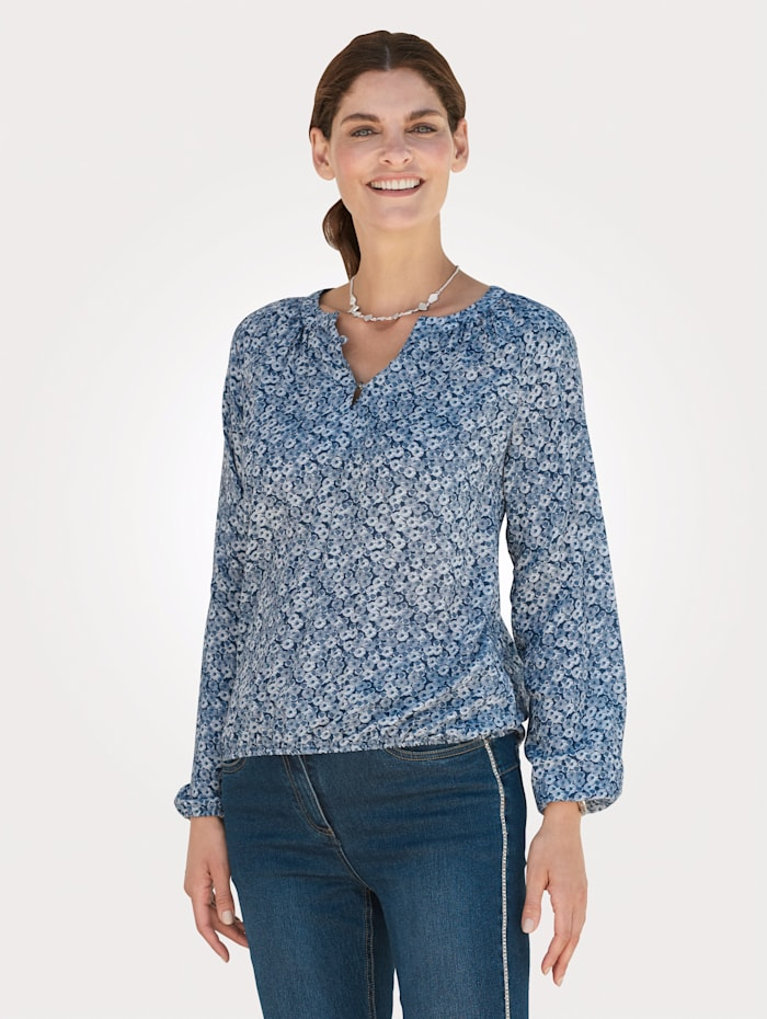 MONA Blouse with a V-cutout, White/Blue