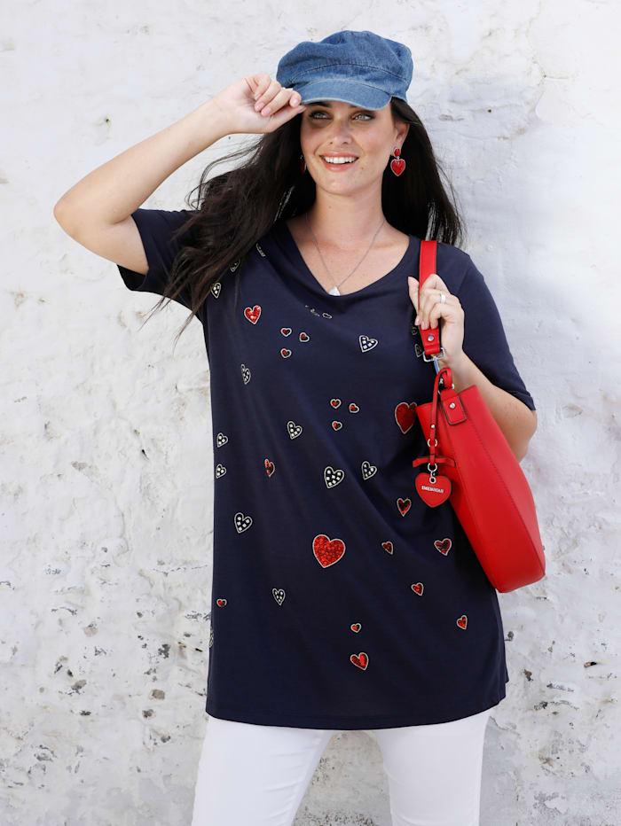 MIAMODA T-shirt long à encolure féminine, Marine
