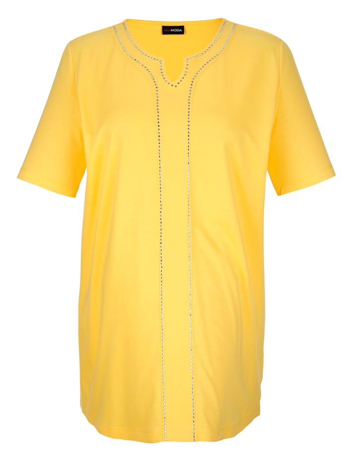 MIAMODA Shirt mit dekorativen Nieten, Gelb