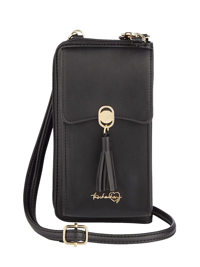 Taschenherz Telefoontasje met portemonnee, Zwart