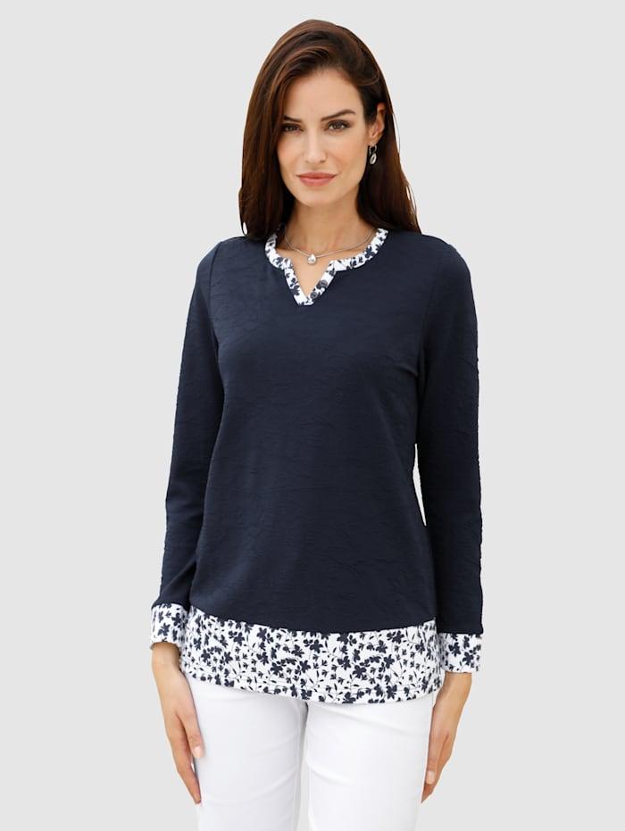 Paola Sweat-shirt en matière texturée, Marine/Blanc