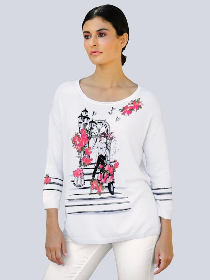 Alba Moda Pullover mit exklusivem Druckmotiv, Weiß/Pink
