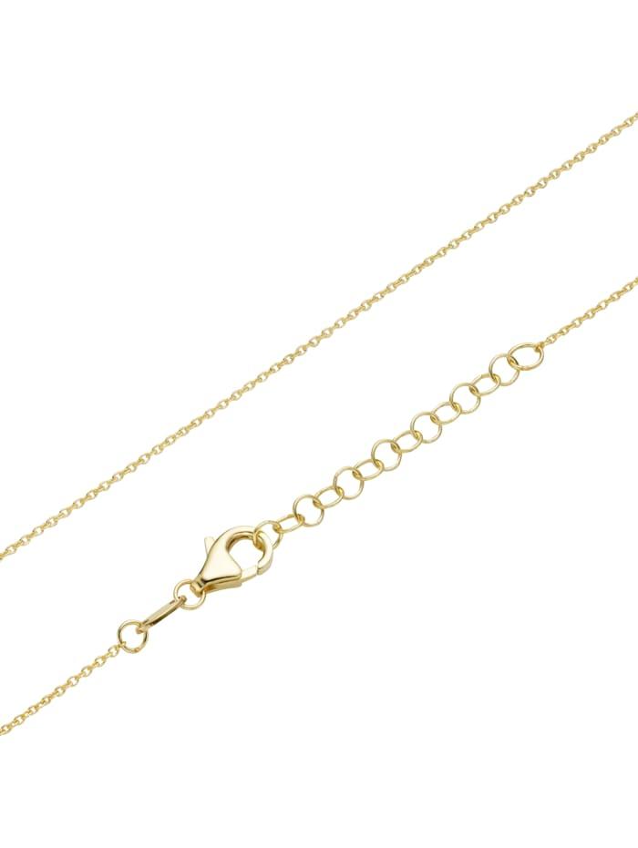 Kette mit Herzanhänger in strukturierter Optik, Gold 375