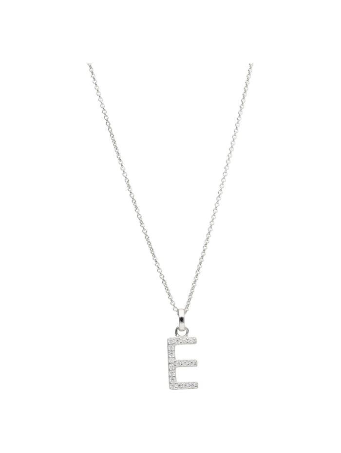 Smart Jewel Kette Buchstabe E mit Zirkonia Steine, Silber 925, Silber