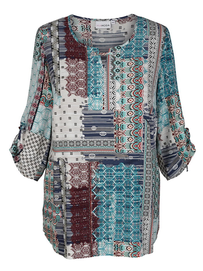 Tuniek met print in patchworklook
