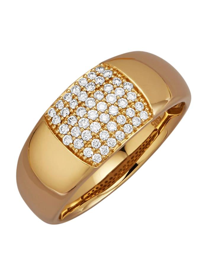 Diemer Diamant Damesring met 50 briljanten, Geelgoudkleur
