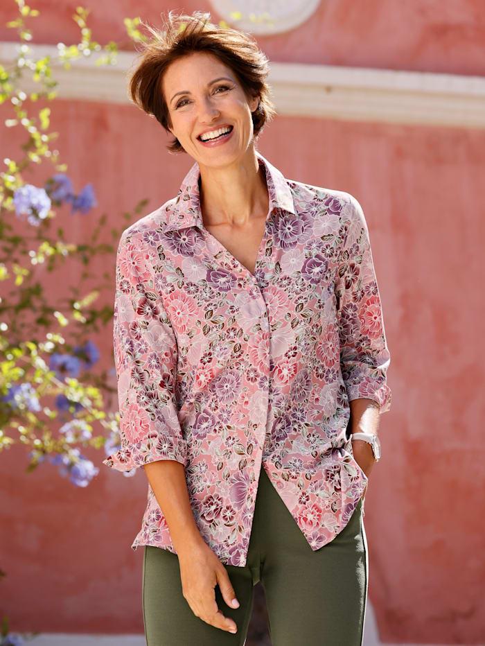 Paola Bluse mit floralem Druck, Altrosa