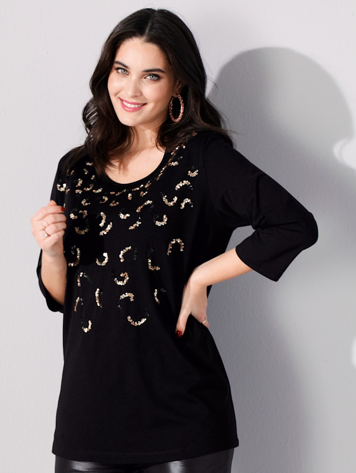 MIAMODA Shirt mit funkelnden Pailletten besetzt, Schwarz/Goldfarben