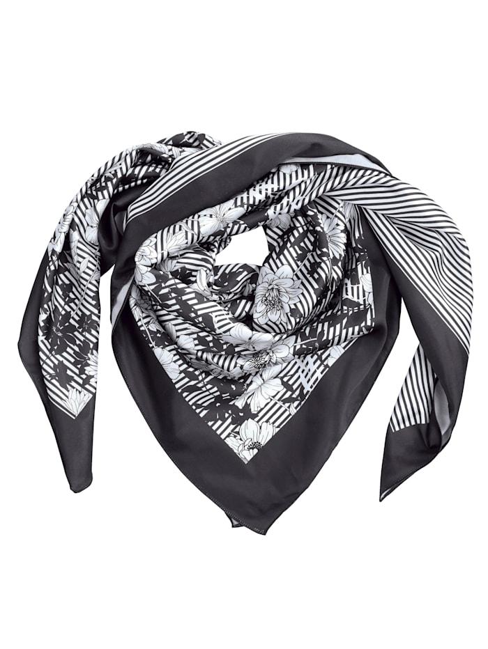 Paola Foulard en matière satinée délicatement brillante, Noir/blanc imprimé