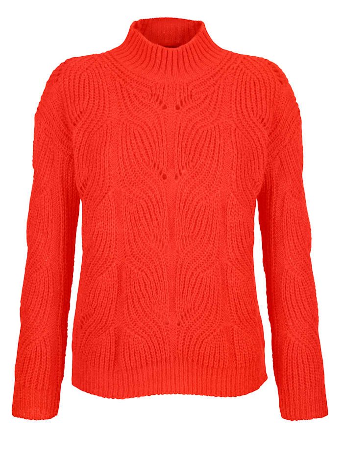 AMY VERMONT Pullover mit Zopfmuster, Orange
