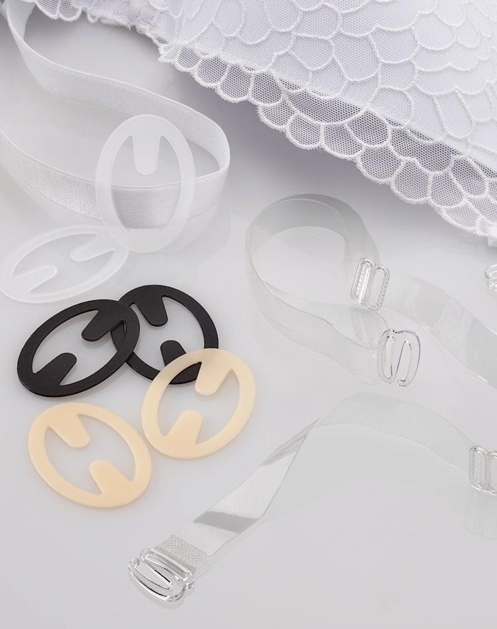 Miss Perfect BH-stropper og klips til BH-er med avtagbare stropper, Transparent/Nude/Svart