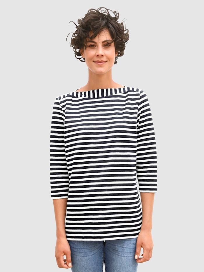 Dress In Sweatshirt met gestructureerde strepen, Marine/Wit