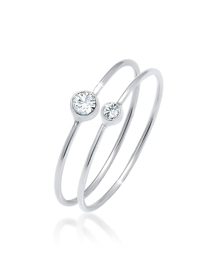 Elli Ring Set Basic Trend Kristalle 925 Silber, Silber
