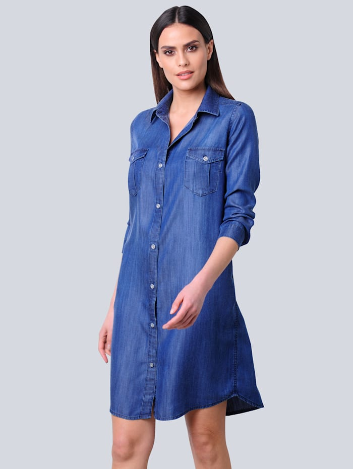 Alba Moda Hemdblusenkleid in Jeansoptik aus trageangenehmer Lyocellware, Dunkelblau