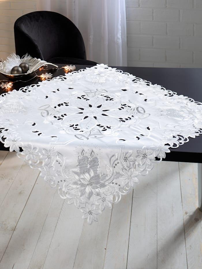 Webschatz Tischwäsche 'Silberblume', weiß/silber/bunt