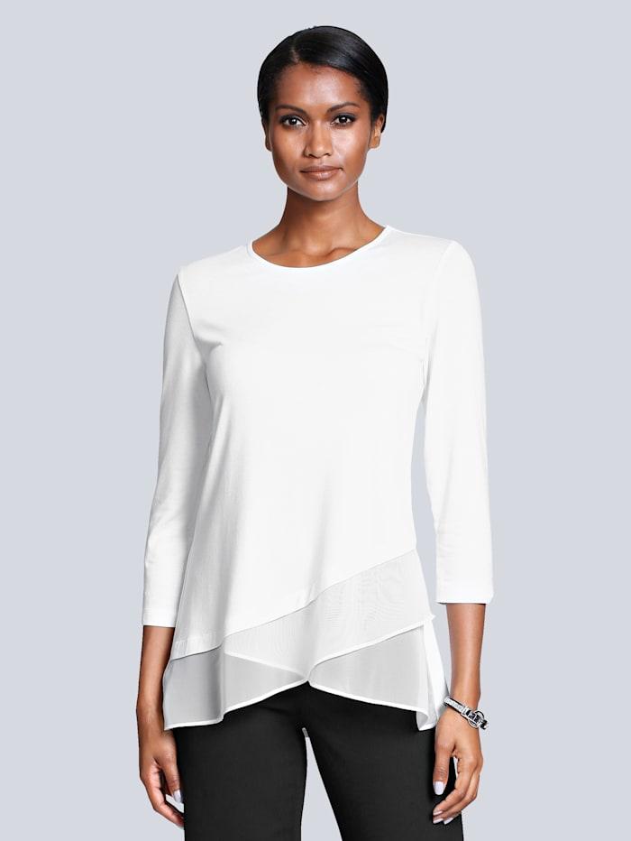 Alba Moda Shirt mit Chiffon-Besatz, Off-white