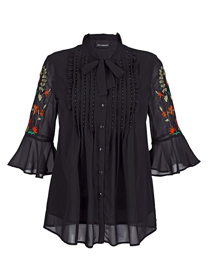 Bluse mit floraler Stickerei und Perlendeko