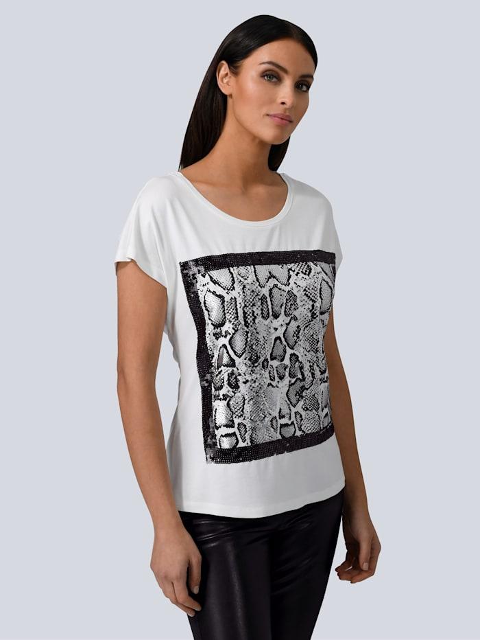 Alba Moda Shirt mit platziertem Druck, Weiß/Schwarz/Beige