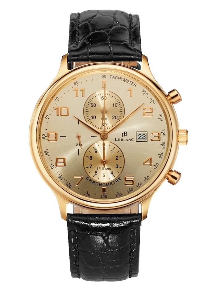 Le Blanc Herrenuhr-Chronometer, Schwarz/Gelbgoldfarben
