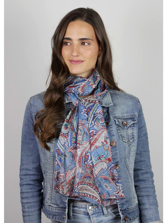 Crinkle-Schal aus reiner Seide mit Paisley-Dessin