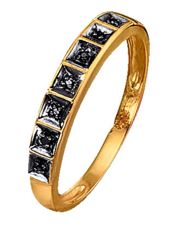 KLiNGEL Damenring mit schwarzen Diamanten, Gelbgoldfarben