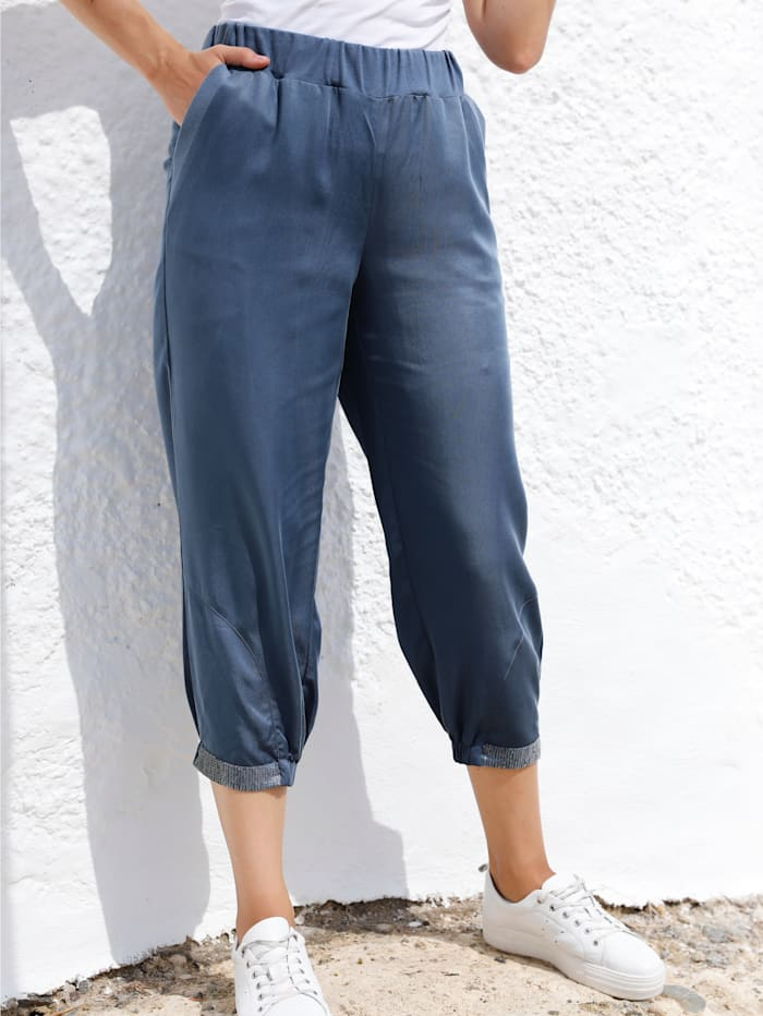 MIAMODA Pantalon à paillettes au bas de jambes, Bleu jean