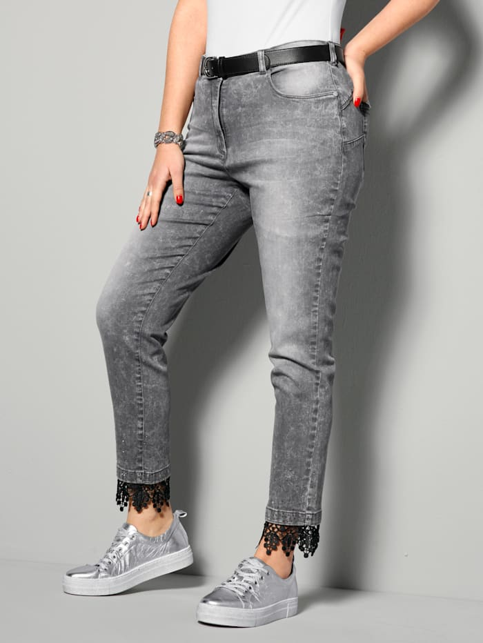 MIAMODA Jeans mit modischer Spitze am Saum, Grey
