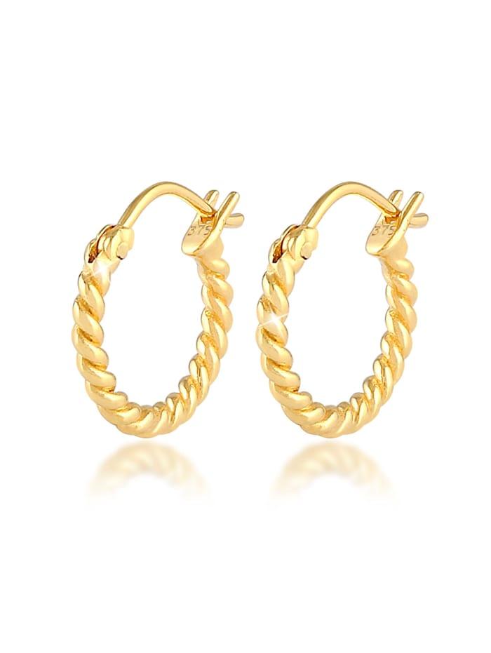 Elli Premium Ohrringe Creolen Hänger Zeitlos Gedreht 375 Gelbgold, Gold