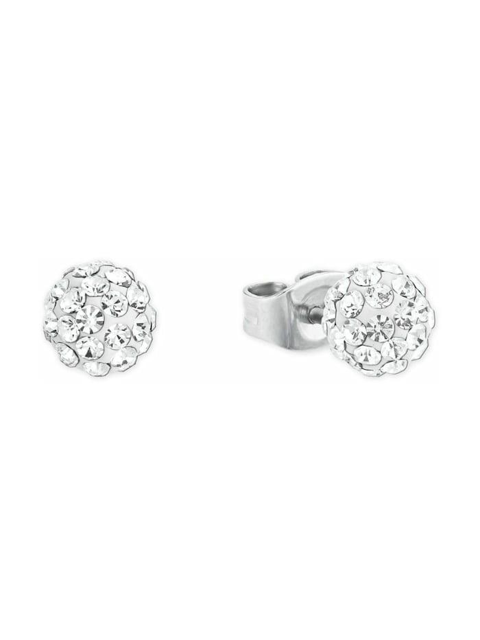 amor Ohrstecker für Damen, Sterling Silber 925, Kristallglas, Silber