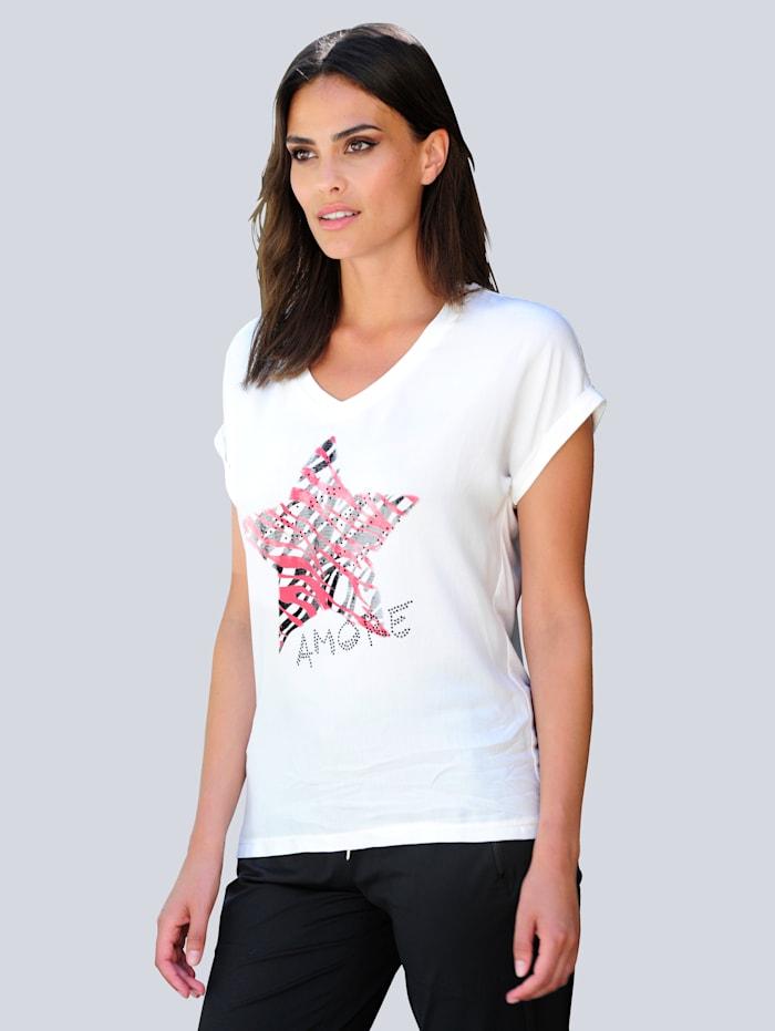 Alba Moda Shirt mit exklusivem Alba Moda Print im Vorderteil, Off-white/Schwarz/Koralle