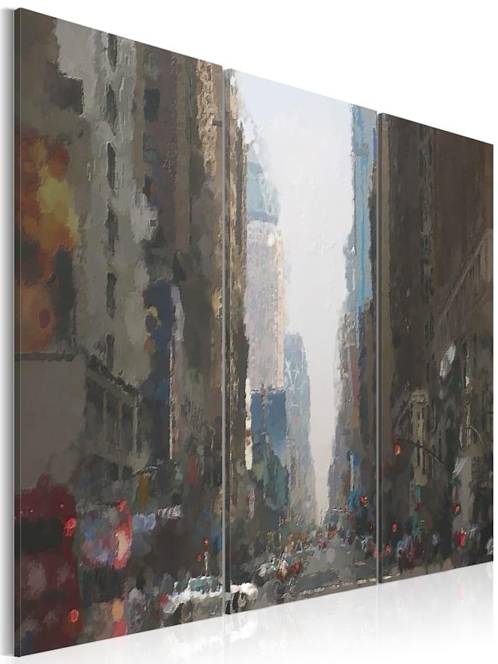 artgeist Wandbild Rainy city behind the glass, Weiß,Braun