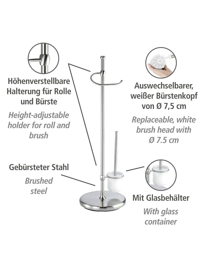 Stand WC-Garnitur Adiamo, mit Glasbehälter