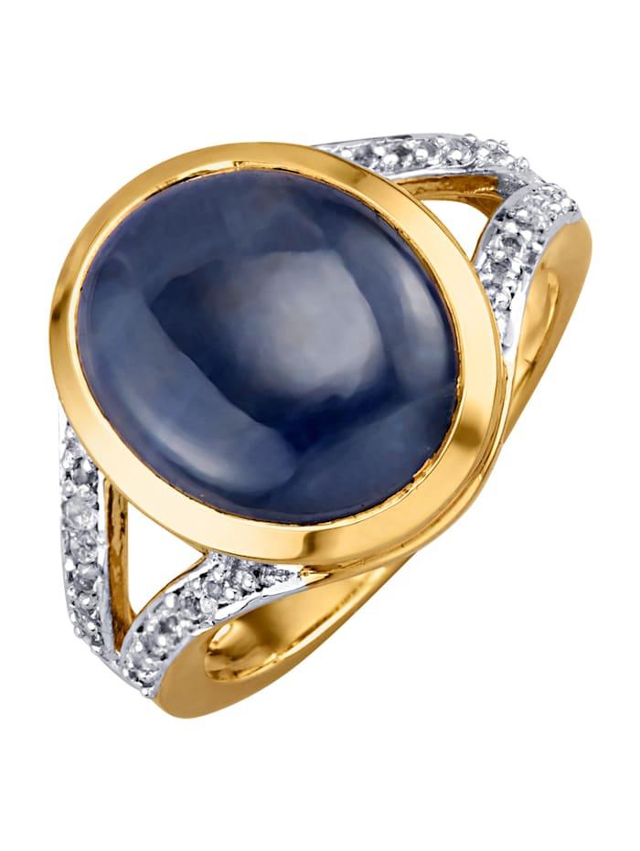 Kullanvärinen safiirisormus hopeaa, Sininen