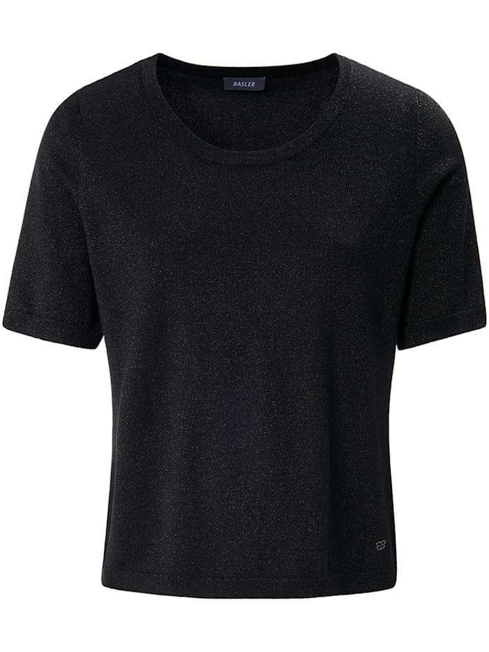 Basler Pullover in meliertem Design mit halblangen Ärmeln, black