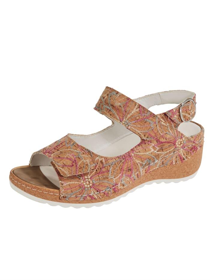 Waldläufer Sandale mit floralen Stickereien, Braun