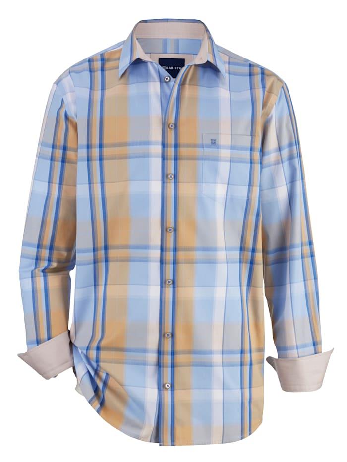 BABISTA Overhemd met ingeweven ruitdessin, Blauw/Beige