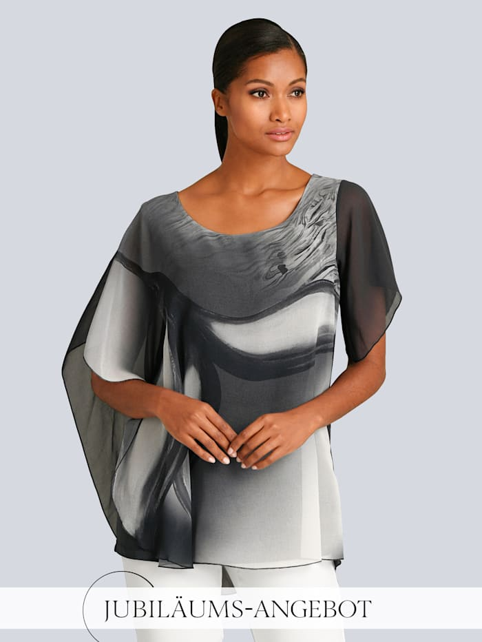 Alba Moda Shirt mit tollem Print im Vorderteil, Grau/Off-white