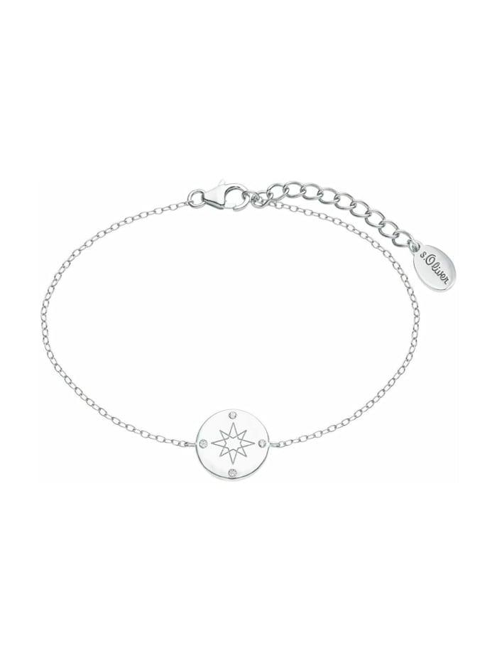 s.Oliver Armkette für Damen, Sterling Silber 925, Zirkonia Kompass, Silber