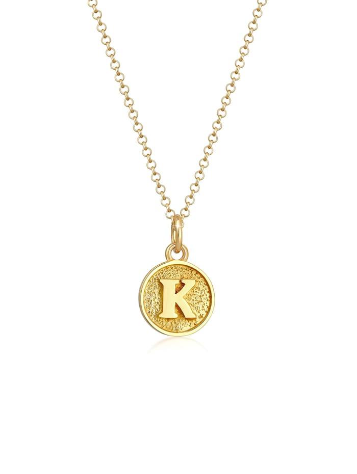 Elli Halskette Buchstabe K Initialen Vintage Plättchen 925 Silber, Gold