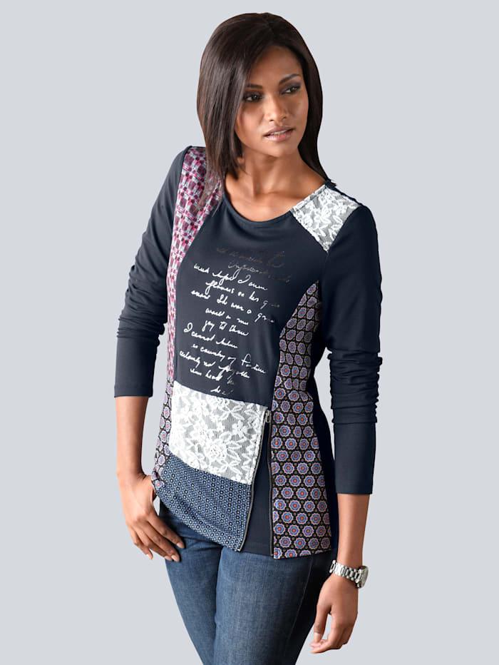 Shirt im Material-und Dessinmix