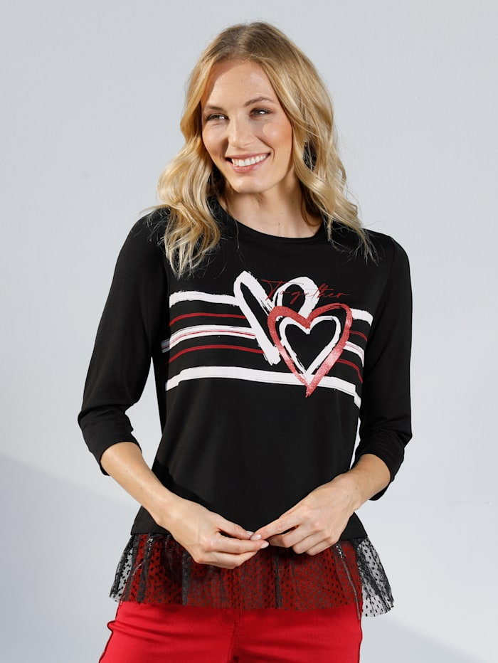 AMY VERMONT Shirt mit Pünktchentüll, Schwarz/Rot/Weiß
