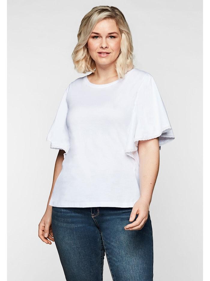 Sheego T-Shirt mit Flügelärmeln und Spitze, weiß