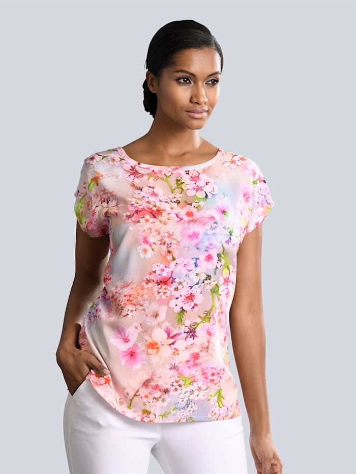 Alba Moda Blusenshirt mit floralem Dessin, Rosé/Multicolor