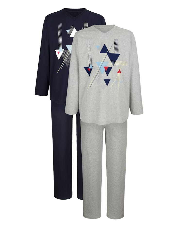G Gregory Pyjama, Lichtgrijs/Marine