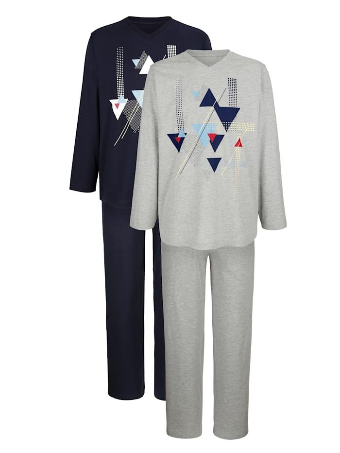Pyjama, Lichtgrijs/Marine