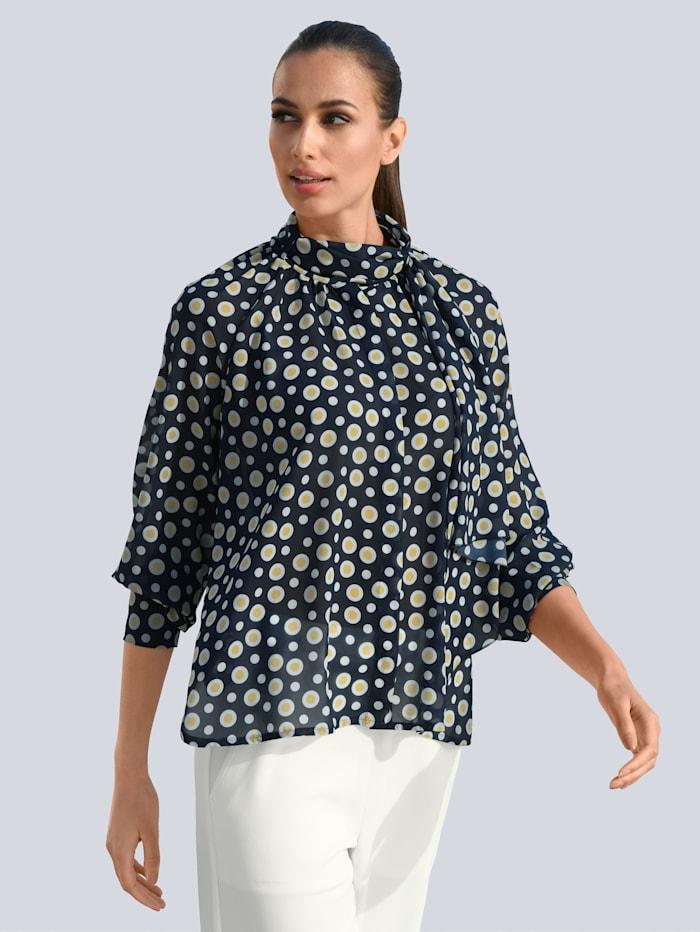Alba Moda Bluse mit großer Schluppe, Blau/Weiß/Gelb