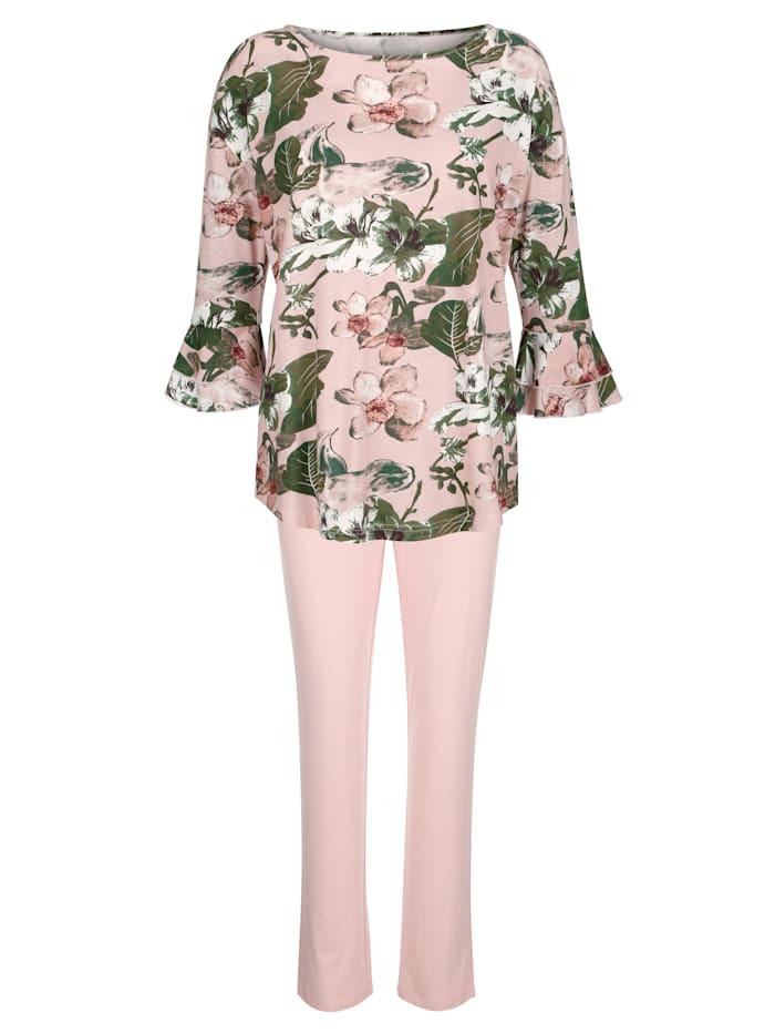 Simone Pyjama met romantische volants aan de mouwzomen, Roze/Ecru/Groen